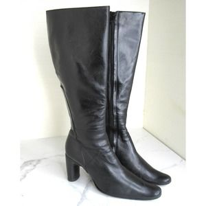 Costume National Tall Black Leather Heeled Boots